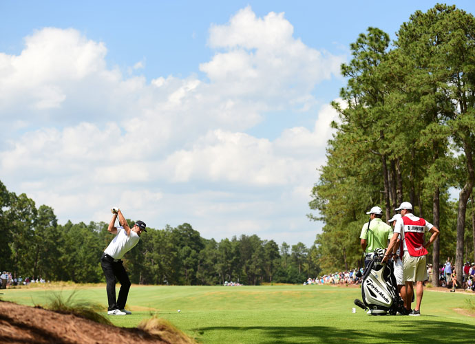"""Dustin Johnson shot an even-par 70 to stay -2 headed to the final round. He's tied for fourth. """"I wasn't striking it that well,"""" he said. """"I tried to play conservative, and try to make pars."""""""