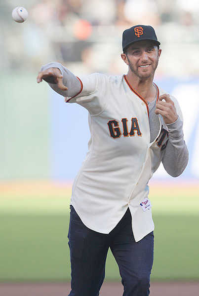 On the Wednesday before the 2012 U.S. Open, Dustin Johnson threw out the first pitch at a Giants-Astros game. Johnson also drove a golf ball into McCovey cove with Giants pitcher Matt Cain. That night, Cain went on to throw the first perfect game in Giants history.