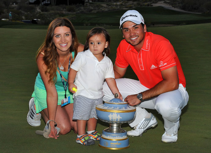 Ellie, Dash and Jason Day celebrate the WGC-Accenture Match Play victory.