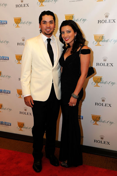 Jason and Ellie Day made a red-carpet appearance before the 2011 Presidents Cup in Melbourne, Australia.