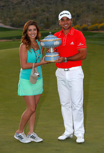 Ellie and Jason Day hoist the Walter Hagen Cup after Day defeated Victor Dubuisson to win the Match Play.