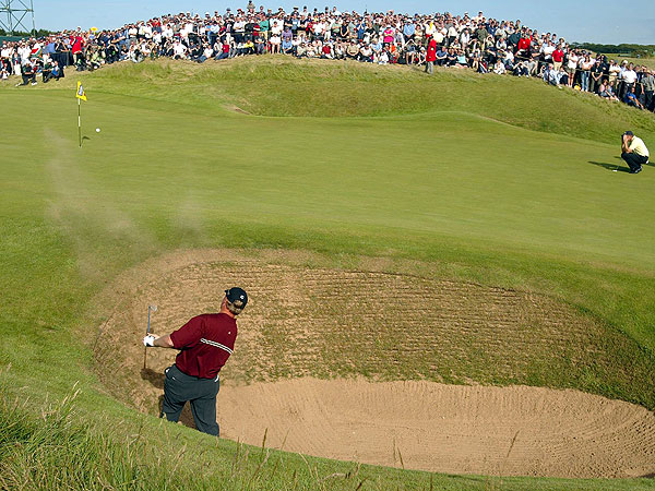 Els nestled this bunker shot close to the hole in a playoff against Thomas Levet on the way to his victory at the 2002 British Open at Muirfield.