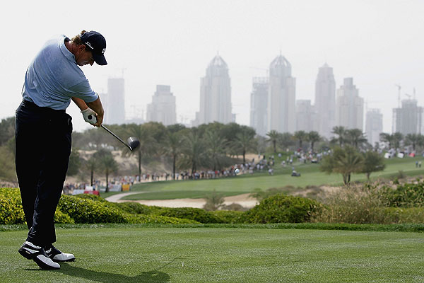 The skyscrapers of Dubai provided a unique background for this tee shot on the eighth hole at the Majilis Course at the Emirates Golf Club in 2005.