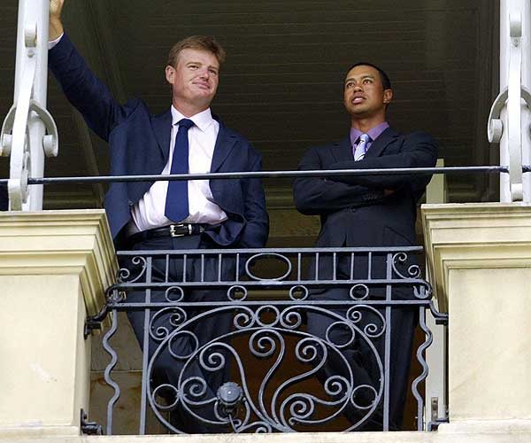Els and Tiger Woods took in the scene at St. Andrews before the start of the 2005 British Open