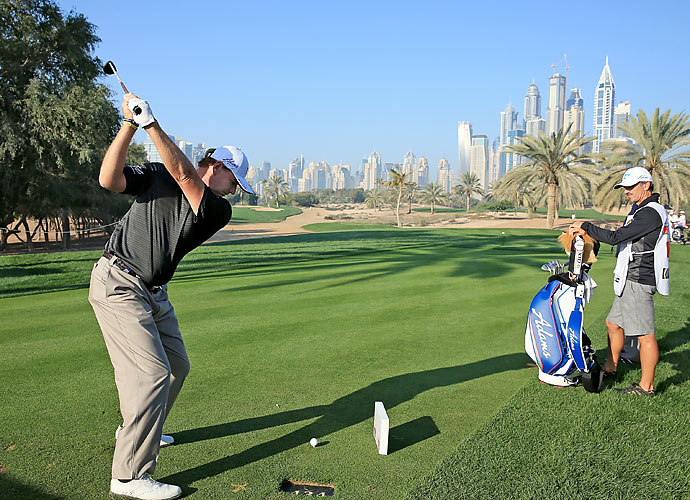 Ernie Els plays the Dubai Desert Classic pro-am.