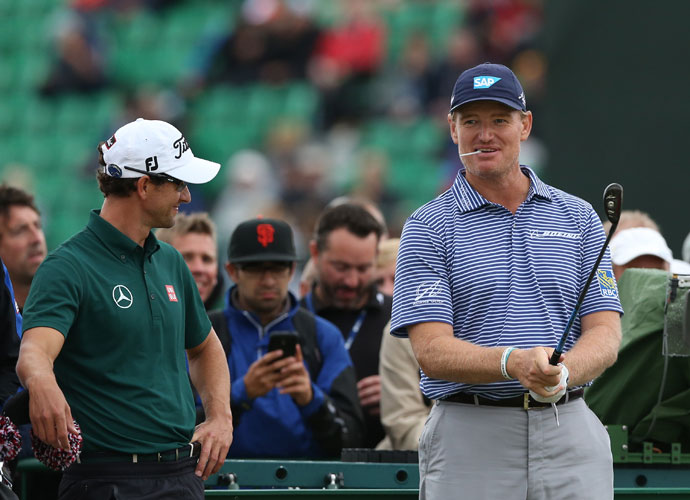 Adam Scott and Ernie Els played together in their Wednesday practice round.