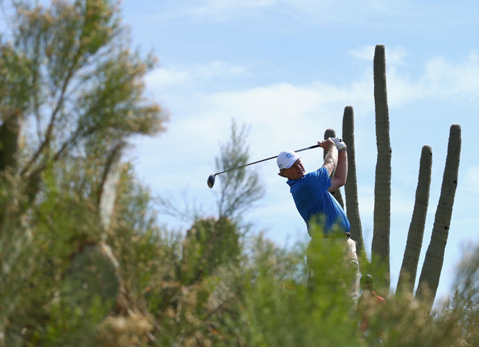 Ernie Els hits a tee shot on the second hole during his quarterfinal match against Jordan Spieth. The Big Easy won, 4 & 2.