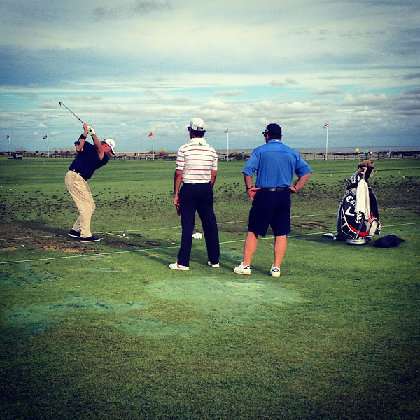 Ernie Els hit the driving range Thursday morning.