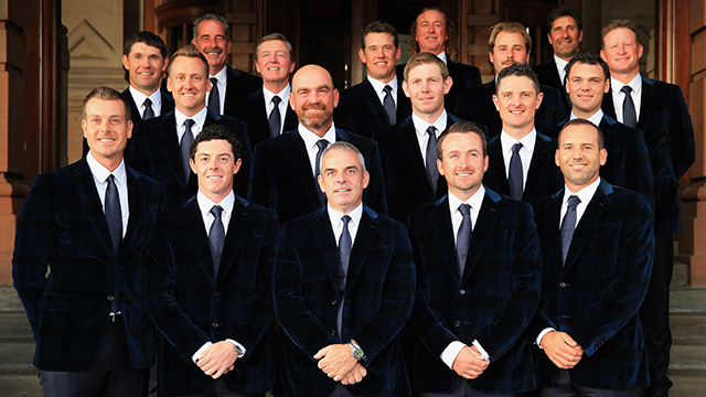 Lee Westwood, Victor Dubuisson, Jamie Donaldson, Ian Poulter, Thomas Bjorn, Stephen Gallacher, Justin Rose, Martin Kaymer, Henrik Stenson, Rory McIlroy, Europe team captain Paul McGinley, Graeme McDowell and Sergio Garcia together with vice captains Padraig Harrington, Sam Torrance, Des Smyth, Miguel Angel Jimenez and Jose Maria Olazabal of the European team pose during the 2014 Ryder Cup Gala Dinner at Kelvingrove Art Gallery and Museum on Sept. 24 in Glasgow, Scotland.