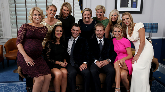 Back row L-R: Susanne Jimenez, wife of Europe team vice captain Miguel Angel Jimenez, Allison McGinley, wife of Europe team captain Paul McGinley , Helen Gallacher, wife of Stephen Gallacher of Europe, Pernilla Bjorn, wife of Thomas Bjorn of Europe, Caroline Harrington, wife of Europe team vice captain Padraig Harrington - Front Row: LR: Emma Stenson, wife of Henrik Stenson of Europe, Kathryn Tagg, partner of Jamie Donaldson of Europe, Martin Kaymer of Europe, Victor Dubuisson of Europe, Katharina Boehm, partner of Sergio Garcia of Europe, Kate Rose, wife of Justin Rose of Europe pose for a photograph at the Gleneagles Hotel.