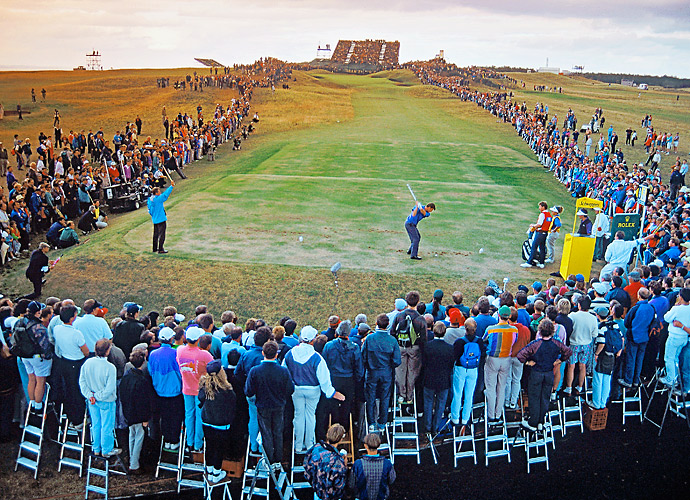 Nick Faldo tees off on the 13th hole during the final round of the 1992 Open. Faldo, who will be in the field this year, would go on to win the tournament -- his third Open win and second at Muirfield.