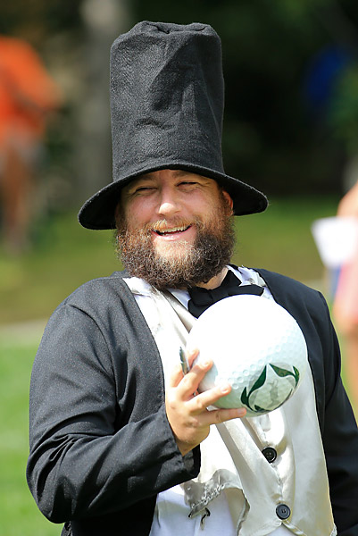 One fan took the opportunity provided by the Presidents Cup to dress up as Abraham Lincoln.