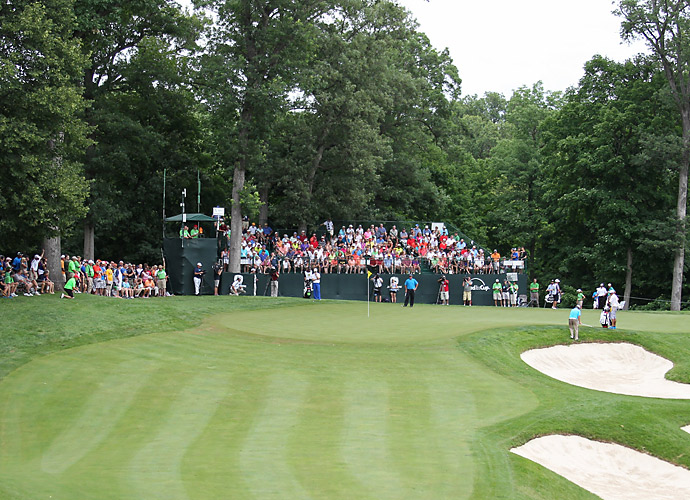 A view of the fifth green at TPC Deere Run.