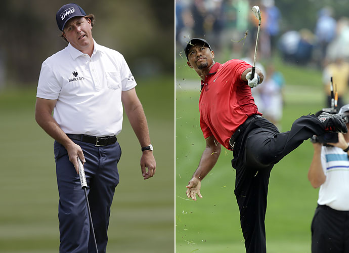 2014                       Phil Mickelson and Tiger Woods go winless for the first time since 1992; Mickelson's best finish is a runner-up at the PGA Championship and Woods' a T-25 at the WGC-Cadillac, though he only plays five events all season. Woods takes himself out of the running for the Ryder Cup as well.
