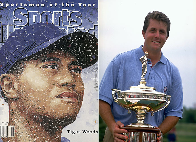 1996                     Tiger Woods turns pro in August at the Greater Milwaukee Open before winning Sports Illustrated's Sportsman of the Year and PGA Tour Rookie of the Year awards. Phil Mickelson wins four PGA Tour events including the Byron Nelson.                                           Pop Culture: Lisa Marie Presley divorces Michael Jackson in January.