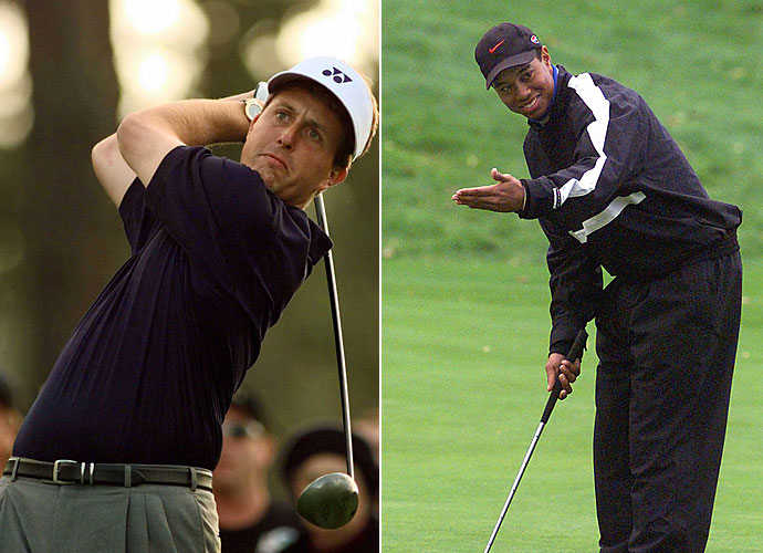 1998                     A down year for Tiger Woods ends with just one victory at the BellSouth Classic, while Phil Mickelson grabs career Tour victories Nos. 12 and 13 at the Mercedes Championship and Pebble Beach Pro-Am, holding a lead in career victories on Woods that was soon to slip.                                           Pop Culture: The final episode of Seinfeld airs in May.