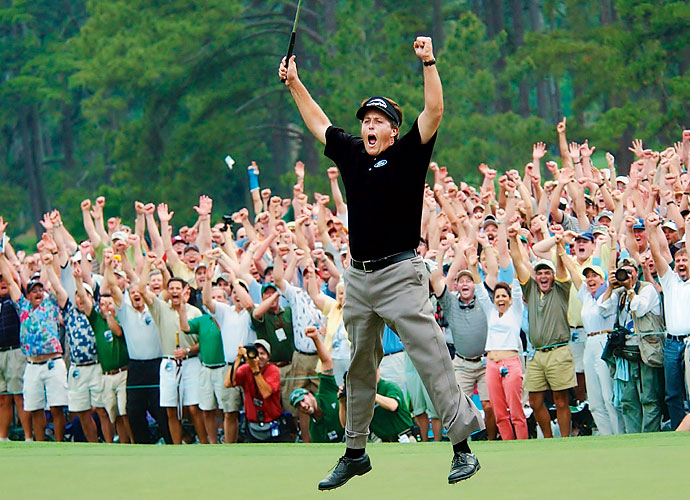 2004                     At long last, Phil Mickelson wins his first major title at the Masters. He follows it up by nearly winning his second major twice, finishing second at U.S. Open and third at British Open. A second swing change prompts Tigers Woods into a rough season, where he wins just once, at the WGC-Match Play.                                           Business News: Harvard dropout Mark Zuckerberg launches Facebook in February.