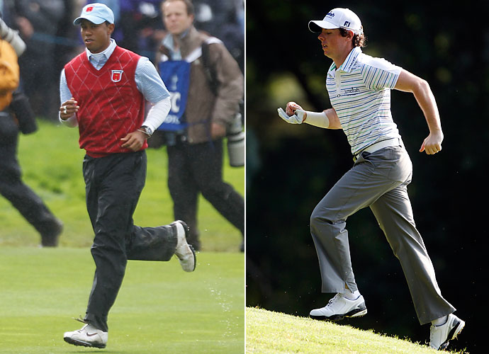 """Running Back                       Tiger Woods                       Can you imagine Phil as quarterback deferring to Tiger in his backfield? It would be a pretty good option. Woods still shows signs of being a very good player, so he's needed in a skill position. He can be the thunder and Rory McIlroy can be the lightning. McIlroy has the best chance of """"going off"""" at any moment, much like a quick striking running back."""