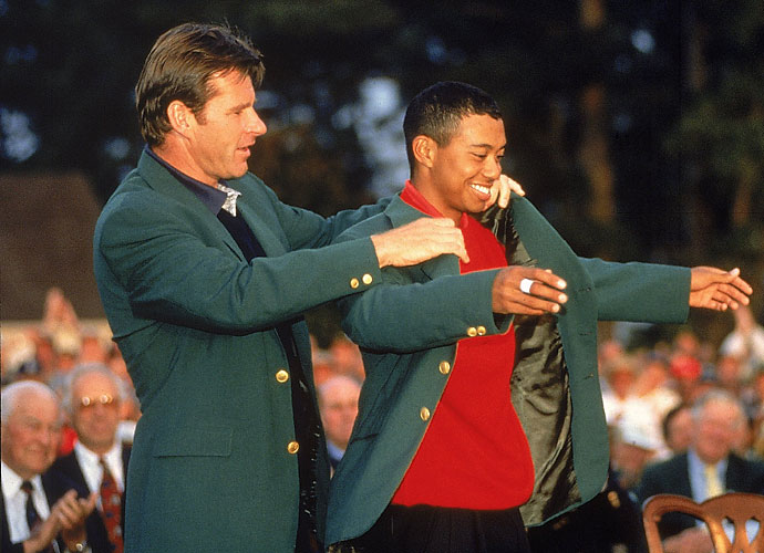 1997                     Tiger Woods earns his first major victory in epic fashion, triumphing at the Masters by a 12-stroke margin.