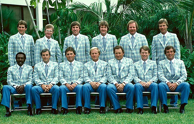Ruderman says...I'm always looking for fun, new group Halloween costume ideas (Britney at every stage is so played out, Game of Thrones cast is too much effort and everyone does Mad Men). But I'm almost positive no one else will be doing the 1983 U.S. Ryder Cup team. eBaying Tom Kite's Coke bottle glasses (back row, second from left) right now…