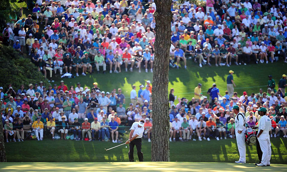 Phil Mickelson, Third Round of the Masters, Hole No. 15, Third Shot                     In the third round of the Masters, Phil Mickelson pulled off this difficult flop shot on the par-5 15th hole and went on to make a birdie.