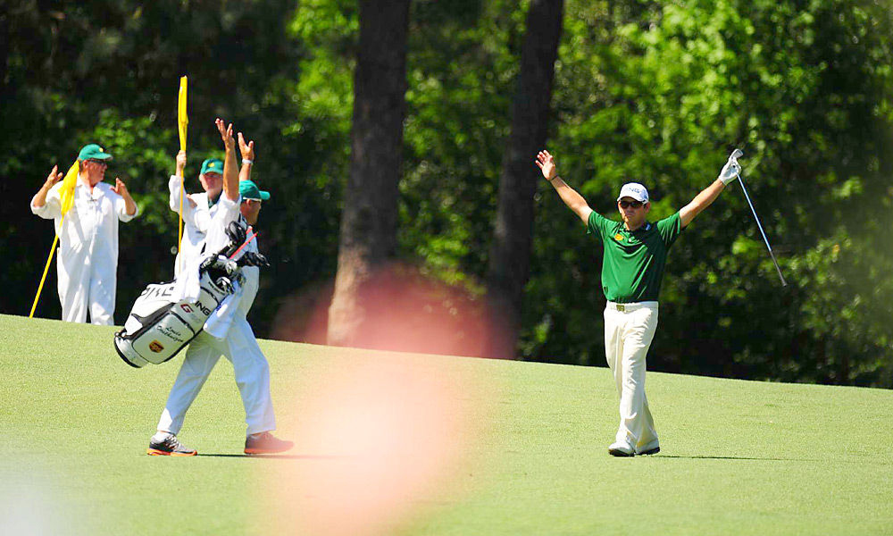 Louis Oosthuizen, Final Round of the Masters, Hole No. 2, Second Shot                     Of course, Mickelson's flop wasn't the only memorable shot of the week. Louis Oosthuizen double-eagled the par-5 second hole in the final round. It was the first double eagle on the second hole in Masters history.