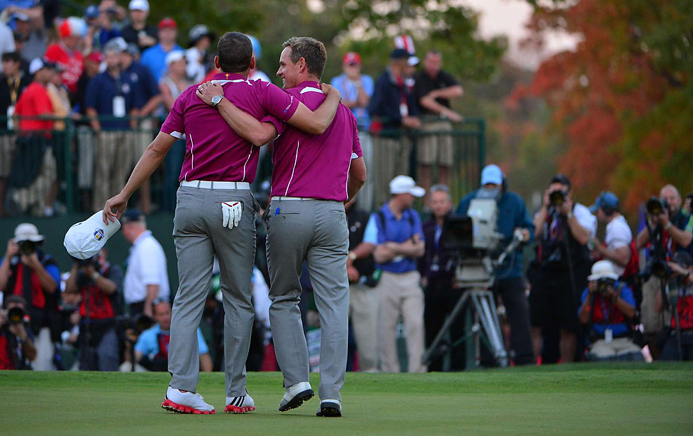 Sergio Garcia and Luke Donald walked off with a 1-up victory over Woods and Stricker on Saturday afternoon.