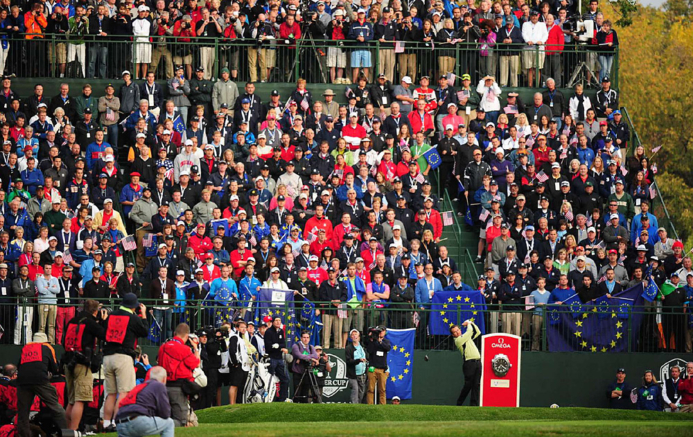 Graeme McDowell teed off in front of an imposing crowd on Friday morning.