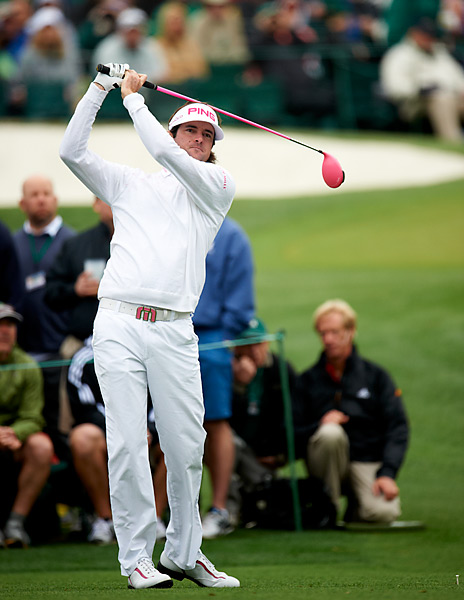 The 2010s: Bubba Watson                       The defending Masters champ (shown here at the 2012 Masters) is one of the most unusual long hitters in the history of the game. Watson has a tall, relatively slight build and and unorthodox swing during which he almost completely leaves his feet -- those aren't the kind of things that normally lead to drives in excess of 350 yards, but in Bubba's case they do. In addition to producing mind-numbing distance, Bubba also curves it about as much as anyone on Tour, playing 30-yard draws and fades at will.