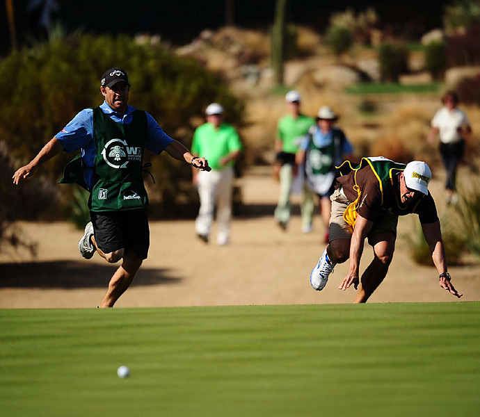 The party at 16 included caddie races. Some of the sprints ended in a photo finish, while others became YouTube sensations.