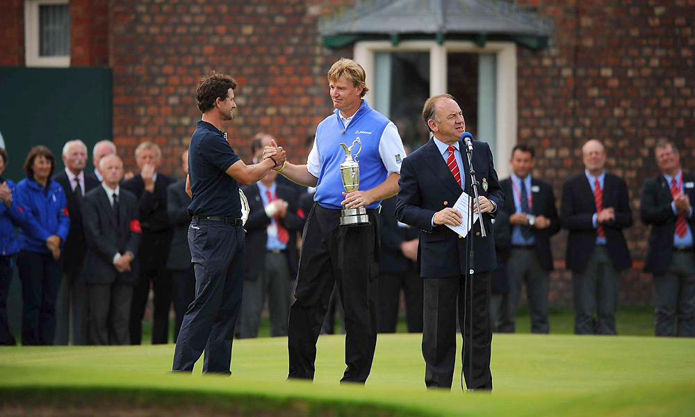 Ernie Els backed into the claret jug after an epic collapse by Adam Scott. Still, it put an exclamation point on the Big Easy's Hall of Fame career. - David DeNunzio