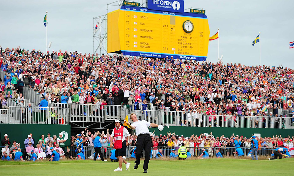 Ernie Els celebrated a birdie at the British Open on the 72nd hole by firing his ball into the crowd. His 15-foot putt would prove to be the title-clincher after Adam Scott closed with four straight bogeys to fall one shot short of Els.