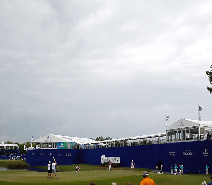 Play was delayed twice in the final round because of storms.