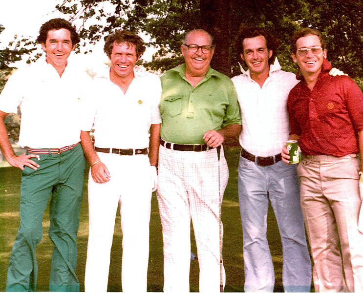 When Bill Harmon realized he would never be the player his famous father was, he turned to drugs and alcohol to numb the pain. That was                       then. Now 20 years sober, Harmon is making a name for himself by helping others, both with their swings and their addictions.                                              Bill Harmon (right, in blue pants) with, from left, brothers Craig and Butch, father, Claude, and, far right, brother Dick.                                              Related: Read the story from the August 2012 issue of Golf Magazine