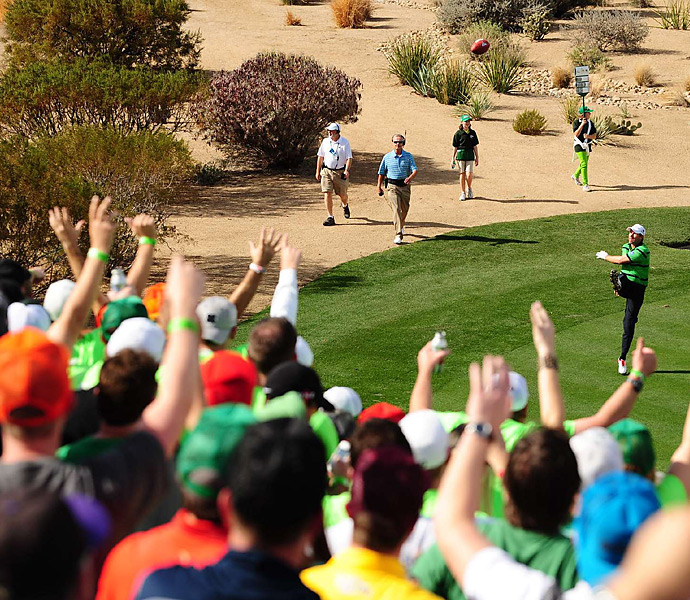 Padraig Harrington had some fun with the fans at 16 on Saturday.