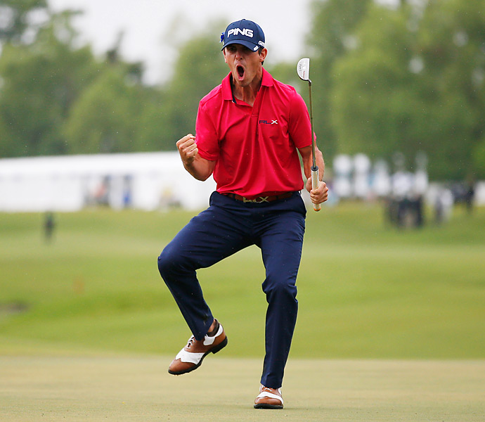 Billy Horschel poured in a long birdie putt on the 18th hole to win the Zurich Classic by one shot.