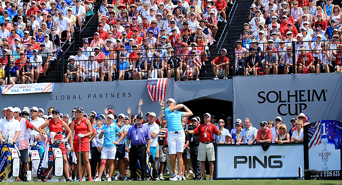 On Saturday, the biggest upset of the afternoon fourball matches happened when Solheim rookies Jodi Ewart-Shadoff [teeing off] and Charley Hull took down Paula Creamer and Lexi Thompson, 2-up.