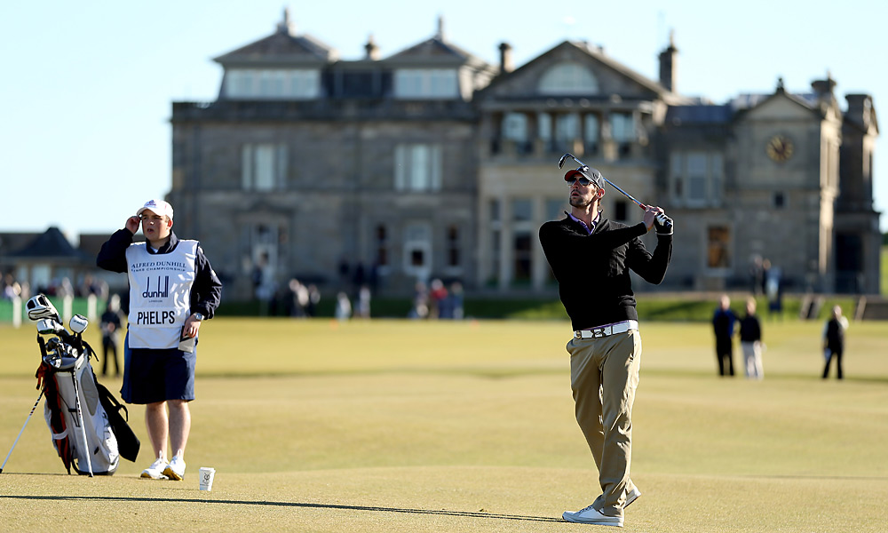 Michael Phelps played at St. Andrews in Saturday's third round. He missed the cut, and did not play the Old Course again on Sunday.