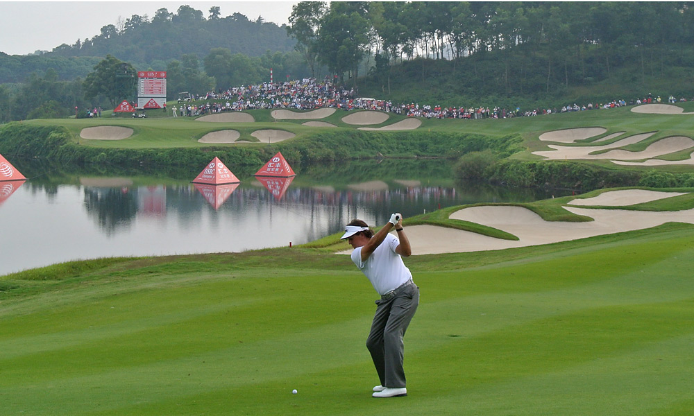 Phil Mickelson shot a 66 and trails by three shots heading into Sunday's final round.