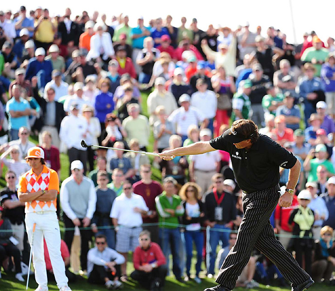 On Thursday, Mickelson missed this final putt on the 18th hole for a 59. He tapped in for a 60.