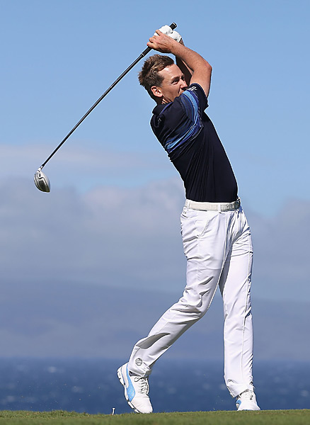 Ian Poulter teed off without a hat on Sunday.