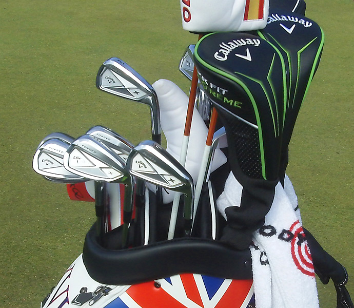 Long-hitting Alvaro Quiros plays Callaway X Forged irons as well.