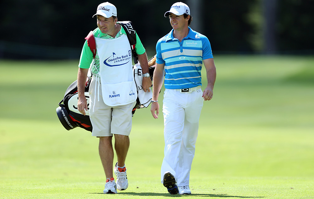 Rory McIlroy and his caddie, J.P. Fitzgerald, kept the mood light on Monday.