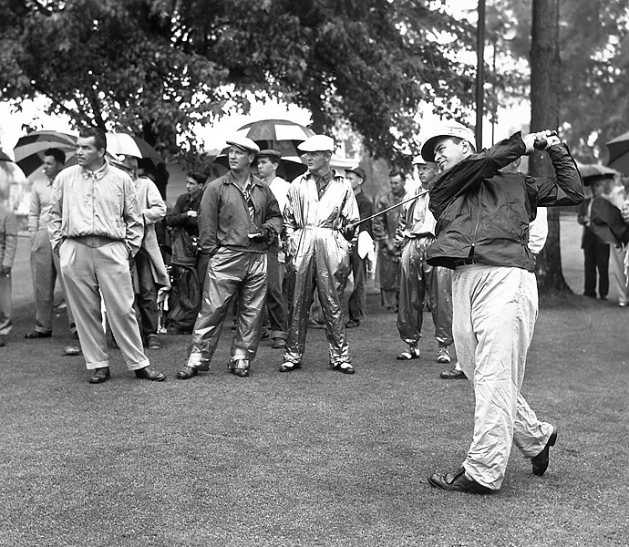 "The 1930s and 1940s: Sam Snead                       Known for one of the smoothest and most powerful swings in the history of the game ""The Slammer,"" (shown here teeing off at the 1954 Masters) routinely out-drove Ben Hogan and Byron Nelson while accumulating a record 82 PGA Tour victories and seven majors. Snead had incredible flexibility and he used it along with impeccable timing and overall athleticism to hit powerful tee shots with effortless grace."