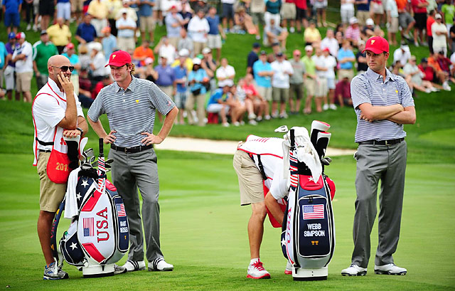 Brandt Snedeker and Webb Simpson were a new team for Friday's matches. They are 1-down entering Saturday.