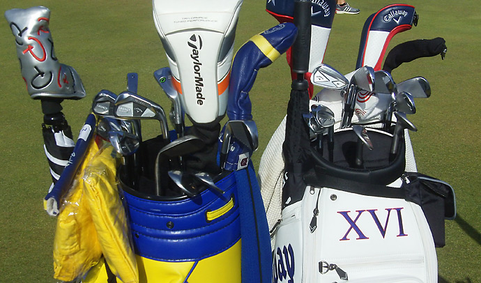Sweden's Henrik Stenson (left) has a Callaway X Utility Prototype iron in his bag, while Branden Grace is playing Callaway X Forged irons.