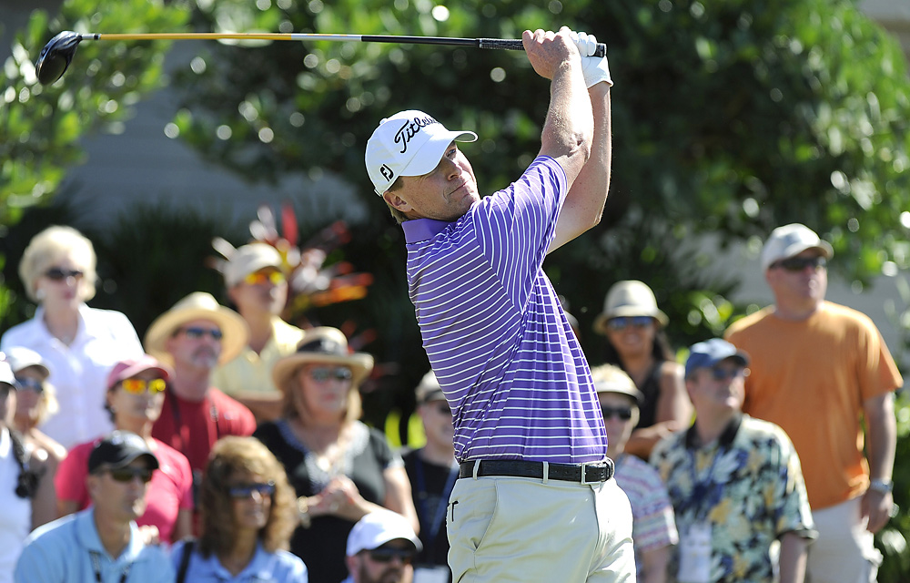 Steve Stricker began the day with a five shot lead, and struggled early before making four straight birdies to finish the day with that same five-stroke advantage.