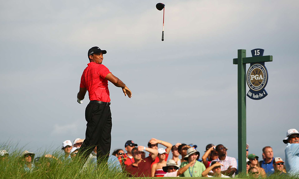 Woods's driver went for a ride on the 15th tee in the final round of the PGA Championship. Woods finished tied for 11th.