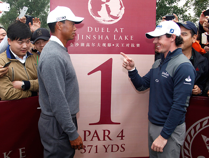 Woods and McIlroy met again at the end of October, this time in a one-day exhibition match at Jinsha Lake International Golf Club in Zhengzhou, China. Woods shot 68, but he fell to McIlroy by one shot.