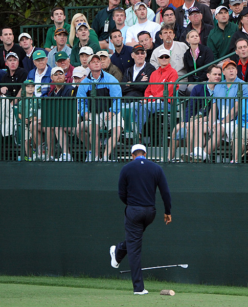 Woods entered the Masters as one of the favorites to win the event, but he never contended. His week was punctuated by this kicked club on the 16th hole, and he went on to tie for 40th.